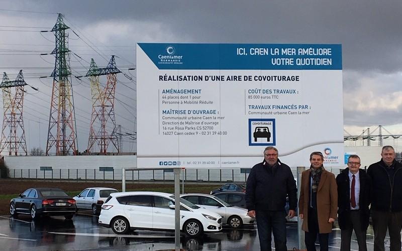 Inauguration d'une aire de covoiturage sur le territoire de Caen la mer